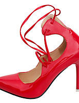Women's Shoes PU Summer Comfort Heels Stiletto Heel Pointed Toe Lace-up For Party & Evening Blushing Pink Red Gray Black