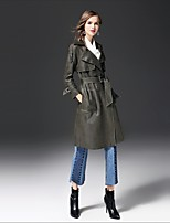 FRMZ Women's Going out Casual/Daily Street chic Fall Winter Trench Coat,Solid Notch Lapel Long Sleeve Long Cotton Others