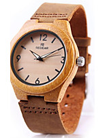Men's Women's Sport Watch Bracelet Watch Wood Watch Japanese Quartz Chronograph Punk Genuine Leather Band Vintage Bangle Luxury Cool