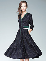 Для женщин На выход На каждый день Уличный стиль С летящей юбкой Платье Галактика,V-образный вырез Средней длины Рукав 3/4 Хлопок