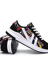 Women's Shoes PU Spring Fall Comfort Sneakers Flat Heel Round Toe Lace-up For Casual Orange/Black Black/White Purple White