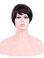 Femme Perruque Synthétique Court Droite Marron Ligne de Cheveux Naturelle Coupe Dégradée Perruque de Cosplay Perruque Naturelle Perruque