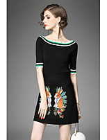 Women's Going out Cute Fall T-shirt Skirt Suits,Print Round Neck Half Sleeves Micro-elastic