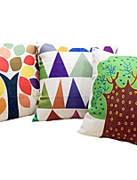 3 pcs Linen Cotton/Linen Pillow Case Bed Pillow Body Pillow Travel Pillow Sofa Cushion,Botanical Mixed Color Graphic Prints Nature