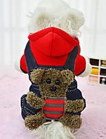 Cane Felpe con cappuccio Felpa Abbigliamento per cani Casual Tenere al caldo Orso Giallo Rosso