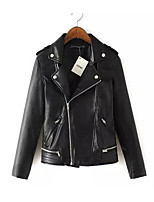 Women's Going out Simple Punk & Gothic Spring Fall Leather Jacket,Solid Shirt Collar Long Sleeve Regular Others