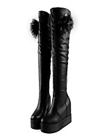 Women's Shoes Leather Spring Fall Winter Basic Pump Comfort Novelty Boots Wedge Heel Thigh-high Boots Flower For Wedding Casual Office &