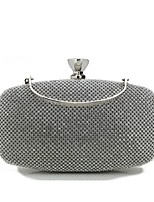 Women Bags All Seasons Special Material Evening Bag Crystal Detailing for Wedding Event/Party Black Silver