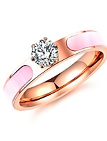 Women's Band Rings AAA Cubic Zirconia Adorable Elegant Cubic Zirconia Titanium Steel Circle Jewelry For Wedding Evening Party