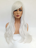 Women Synthetic Wig Capless Long Wavy Silver With Bangs Cosplay Wig Costume Wig