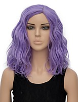 Women Synthetic Wig Capless Short Water Wave Purple Halloween Wig Costume Wig