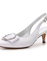 Femme Chaussures Satin Printemps Eté Confort Escarpin Basique Bride de Cheville Chaussures de mariage Talon Bas Kitten Heel Talon