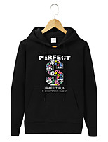 Men's Going out Casual/Daily Simple Hoodie Print Hooded Micro-elastic Cotton Long Sleeve Fall Winter