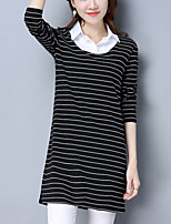 Women's Plus Size Going out Casual/Daily Street chic Sheath Lace Dress,Striped Shirt Collar Above Knee Long Sleeves Polyester Fall Mid