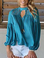 Tee-shirt Femme,Couleur Pleine Sortie Soirée Sexy simple Chic de Rue Printemps Automne Manches Longues Col Ras du Cou Polyester Moyen