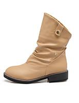 Для женщин Обувь Полиуретан Осень Зима Удобная обувь Оригинальная обувь Модная обувь Ботильоны Ботинки На плоской подошве Круглый носок