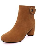 Для женщин Обувь Нубук Зима Ботильоны Армейские ботинки Ботинки На толстом каблуке Круглый носок Ботинки Молнии Назначение Повседневные
