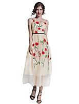 Linea A Fodero Vestito Da donna-Per uscire Casual Moda città Ricamato Rotonda Medio Senza maniche Cotone Estate Autunno A vita alta