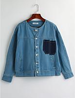 Women's Going out Simple Winter Denim Jacket,Color Block Shirt Collar Long Sleeve Regular Cotton