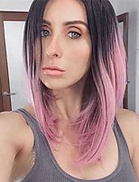 Women Synthetic Wig Capless Medium Straight Pink Ombre Hair Dark Roots Middle Part Bob Haircut Natural Wigs Costume Wig
