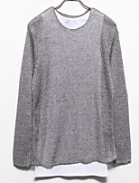Men's Going out Regular Pullover,Solid Round Neck Long Sleeves Others Spring Winter Medium Micro-elastic