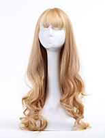 Women Synthetic Wig Capless Long Wavy Blonde With Bangs Natural Wigs Costume Wig