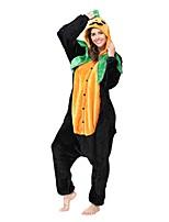 Kigurumi Pajamas Cartoon Leotard/Onesie Festival/Holiday Animal Sleepwear Halloween Green Black Animal Flannel Kigurumi For Unisex