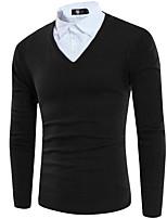 Herren Standard Pullover-Lässig/Alltäglich Solide V-Ausschnitt Langarm Andere Frühling Winter Mittel Mikro-elastisch