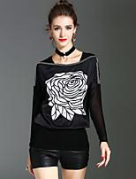 Langærmet Bateau-hals Medium Damer Trykt mønster Forår Efterår Vintage Gade Sofistikerede Ferie I-byen-tøj Bluse,Polyester