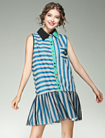 EWUS Women's Going out Casual/Daily Street chic A Line DressStriped Shirt Collar Above Knee Sleeveless Polyester Summer Mid Rise Inelastic
