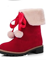 Women's Shoes Fleece Fall Snow Boots Boots Chunky Heel Round Toe Mid-Calf Boots For Casual Dress Red Yellow Black