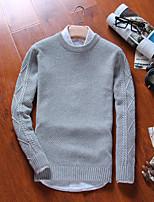 Normal Pullover Homme Décontracté / Quotidien Couleur Pleine Rayé Col Arrondi Manches Longues Coton Automne Hiver Moyen Micro-élastique
