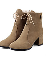 Women's Shoes Suede Fall Winter Comfort Novelty Fashion Boots Bootie Boots Chunky Heel Pointed Toe Booties/Ankle Boots Zipper Lace-up For