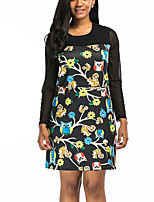 Women's Plus Size Going out Vintage Street chic T Shirt DressPrint Round Neck Mini Half Sleeves Polyester Spring Fall High Rise