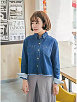 Women's Going out Casual/Daily Simple Street chic Spring Fall Denim Jacket,Solid Shirt Collar Long Sleeve Regular Others