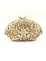 Women Bags All Seasons Metal Evening Bag Appliques Crystal Detailing for Wedding Event/Party Gold