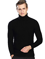 Men's Going out Casual/Daily Vintage Regular Pullover,Solid Crew Neck Long Sleeves Cotton Acrylic Spandex Fall Winter Medium Stretchy