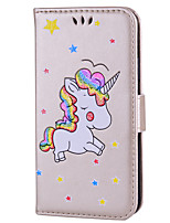 cheap -Case For Apple iPhone 8 iPhone 8 Plus Card Holder Flip Pattern Full Body Cases Unicorn Hard PU Leather for iPhone X iPhone 8 Plus iPhone