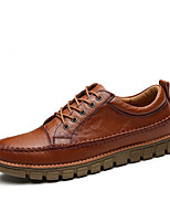 Men's Shoes Leather Fall Comfort Oxfords Lace-up For Casual Outdoor Dark Brown Brown Black