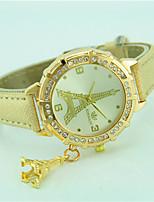 Women's Fashion Watch Wrist watch Quartz Rhinestone Leather Band Eiffel Tower Casual Black White Blue Orange Green Gold Pink