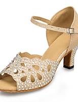 Women's Latin Flocking Sandal Heel Sneaker Indoor Rhinestone Chunky Heel Almond 2
