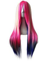 Femme Perruque Synthétique Sans bonnet Long Raide Arc-en-ciel Cheveux Colorés Perruque afro-américaine Coupe Dégradée Perruque de Cosplay