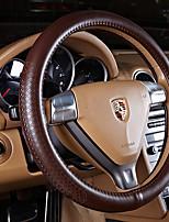 cheap -Steering Wheel Covers Genuine Leather 38cm Brown Burgundy Black Beige CoffeeforNissan
