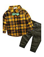 Boys' Plaid Sets,Cotton Fall Long Sleeve Clothing Set