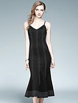 Attillato Vestito Da donna-Per uscire Casual Moda città A strisce Con bretelline Medio Senza maniche Cotone Poliestere Autunno A vita alta