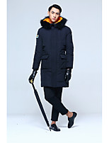 Men's Long Down Coat,Street chic Plus Size Solid-Rex Rabbit Fur White Duck Down Long Sleeves
