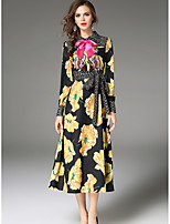 SHE IN SUN Women's Party Holiday Simple Swing Dress,Floral Stand Maxi Long Sleeves Polyester Fall Mid Rise Inelastic Medium