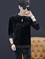 Men's Casual/Daily Sweatshirt Letter Round Neck Micro-elastic Cotton Polyester Long Sleeve Fall