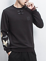 Men's Plus Size Casual/Daily Simple Sweatshirt Solid Print Round Neck Micro-elastic Cotton Long Sleeve Fall Winter