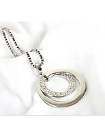 Women's Pendant Necklaces Round Rhinestone Alloy Cute Style Fashion Jewelry For Birthday Daily